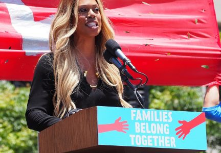 Laverne Cox at L.A.'s Families Belong Together March