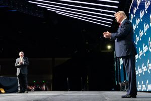 President Donald J. Trump is introduced on stage by radio personality Rush Limbaugh Saturday, Dec. 21, 2019